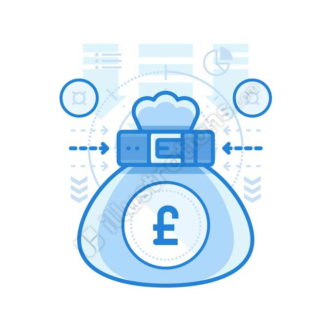 british pound bag illustration