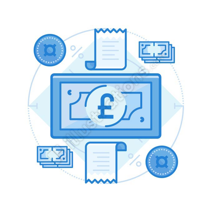 british pound cash illustration