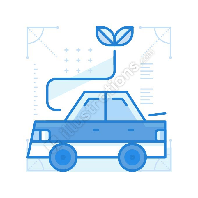 green powered car illustration