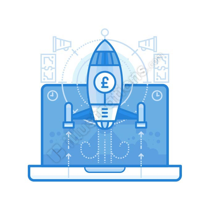 startup british pound illustration