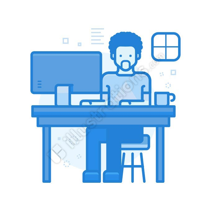 workspace man illustration