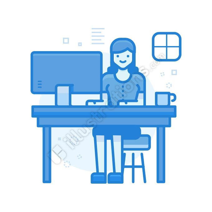 workspace woman illustration